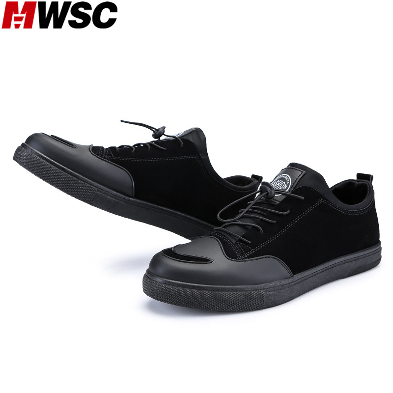 Shoes Mwsc Pigskin Fabric Mens Elastic Band Casual Shoes Street Style Male Fashion Breathable Leisure Footwear