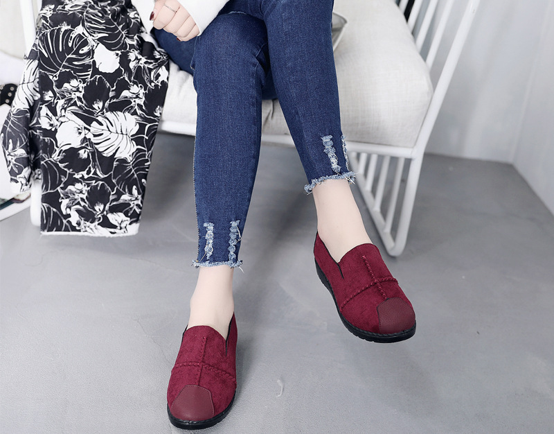 Plus Size Summer Women Flats Fashion Splice Flock Loafers Women Round Toe Slip On Leather Casual Shoes Moccasins New 2019 VT209 (10)