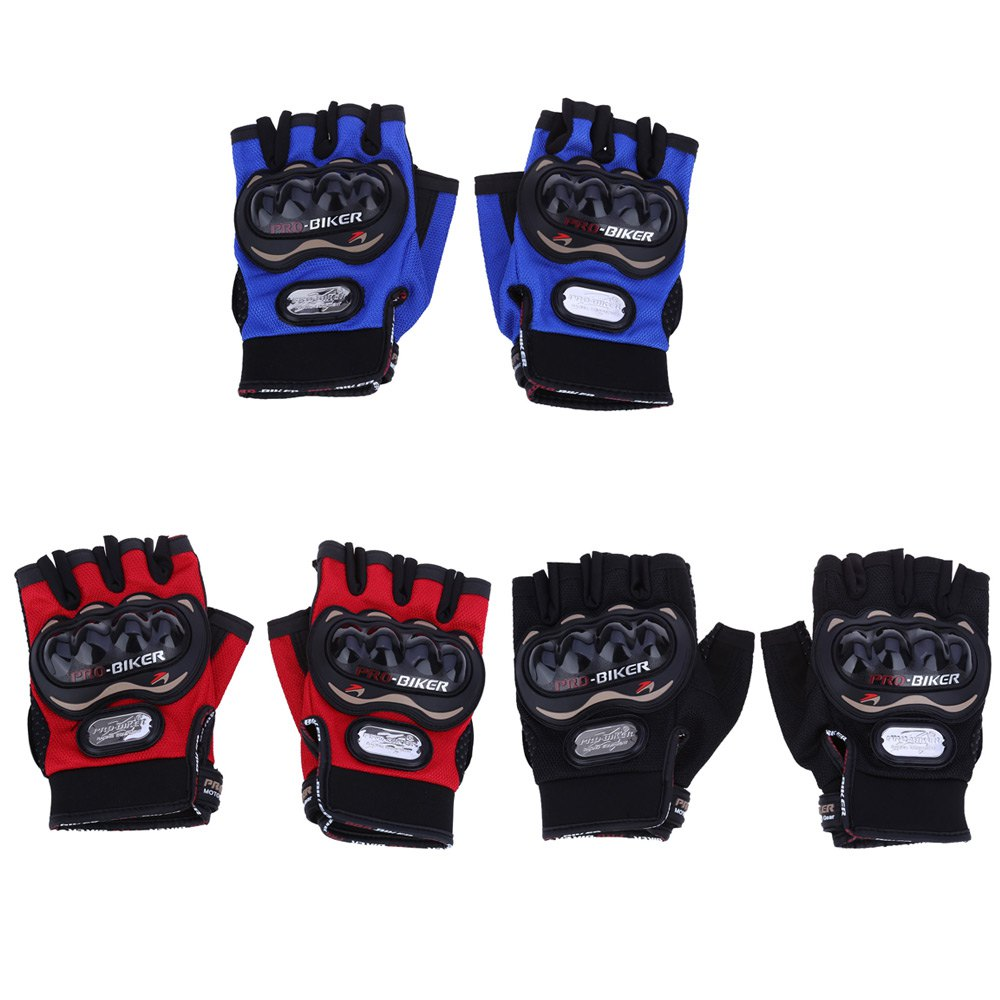 Motorcycle gloves online india - 1paired Half Finger Motorcycle Gloves Motorbike Outdoor Sports Riding Breathable Protective Gears Suitable For Night