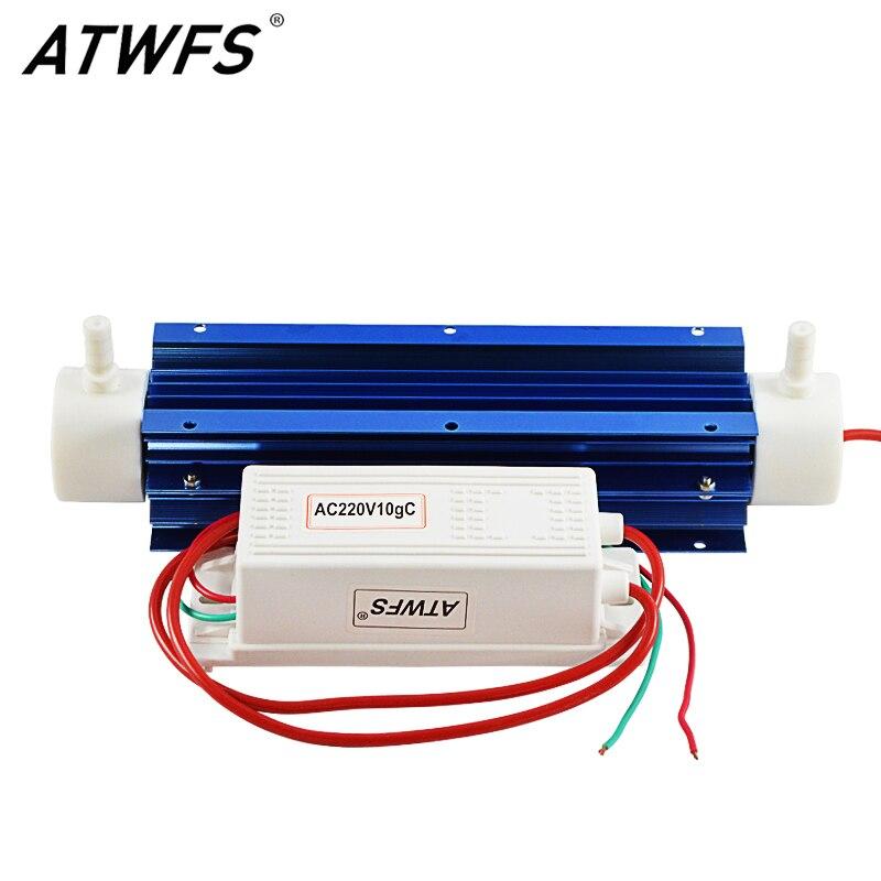 ATWFS 10g Générateur D'ozone 220 v Air Purificateur D'eau Ozoneur Poussière Filtre À Air De Silice Tube Refroidi Par Air Stérilisation