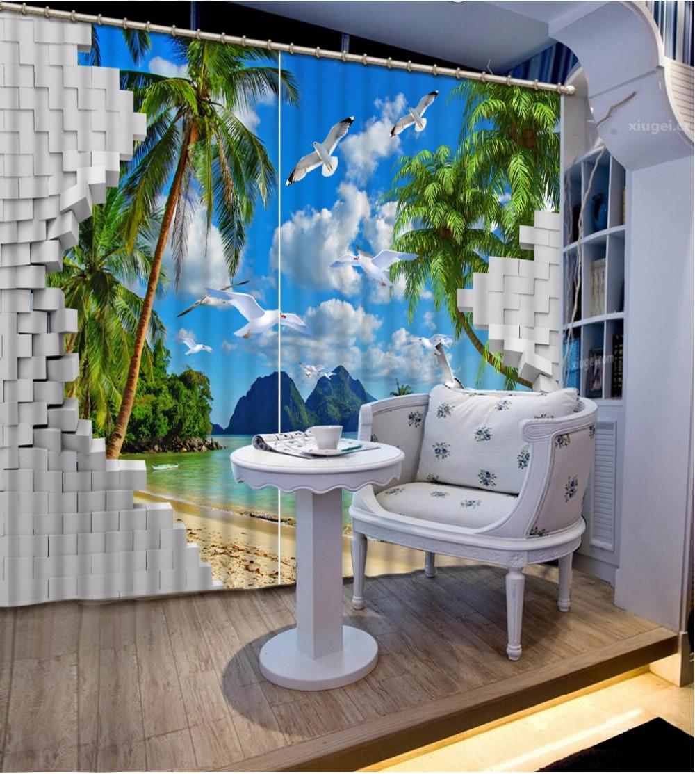 3D Curtain Natural Beautiful Brick Wall Cave Seascape Blue Sky White Clouds Curtain For Bathroom 3D Curtain Blackout