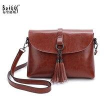 Quality Genuine Leather Women Crossbody Bag Vintage Tassel Messenger Bag Simple Design Small Female Shoulder Bag Women Purse