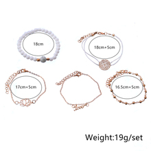 5 Pcs/ Set Retro Carving Flower Letters Lotus Beads Leather Chain Gold Multilayer Bracelet Female Personality Party Accessories