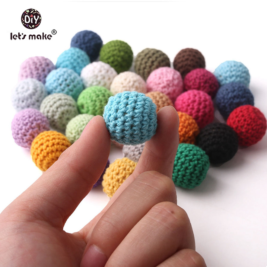 Let's Make Wooden Teether 10pc 16mm Polychrome Crochet Beads Food Grade Chew DIY Crafts Accessories Baby Products Baby Teether