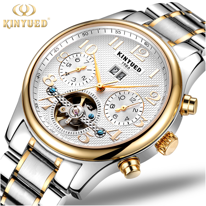 ФОТО Kinyued Luxury Mens Watch Mechanical Automatic Tourbillon Skeleton Men Watches Gold Stainless Steel Band Auto Date Wristwatch