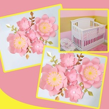 Handmade Pink Rose DIY Paper Flowers Gold Leaves Set For Party Wedding Backdrops Decorations Nursery Wall Deco Video Tutorials