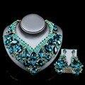 Lan palace boutique de moda conjuntos de collar de seis colores de cristal Austriaco collar y aretes para la boda del envío libre
