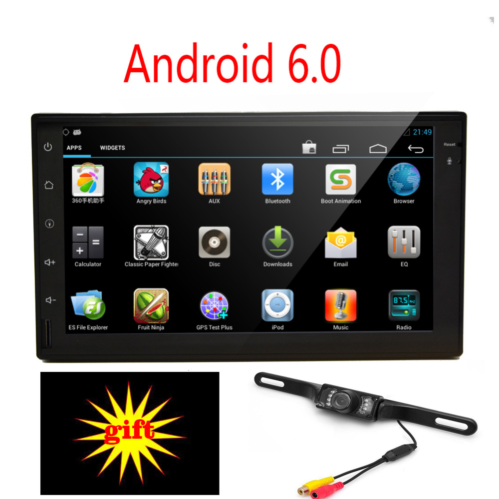 Android 6.0 automagnitol radio Stereo Quad Core 2 din in dash GPS Navigation No DVD player DVR cassette recorder+Backup Camera