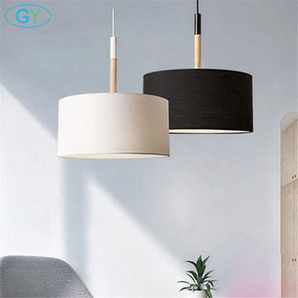 Scandinavian style modern D25cm D40cm pendant lighting high quality black white big fabric cloth shade ceiling pendant lamp