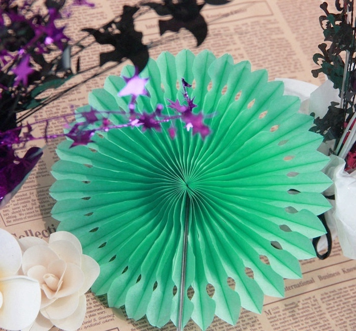 1pc Mint Green 20cm 8 quot Cut out Paper Fans Pinwheels Hanging Flower Paper Crafts for Showers Wedding Party Birthday Decor in Party DIY Decorations from Home amp Garden