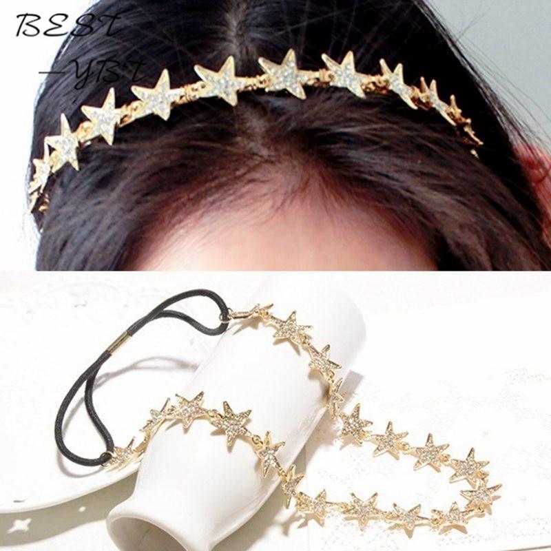 New Fashion Women Metal Gold Plated Head Chain Jewelry Rhinestone Star Elastic Hair Band Headband Jewelry Drop Ship