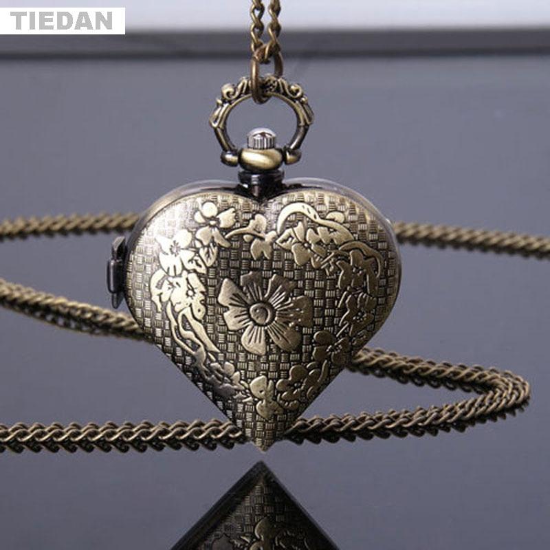 TIEDAN Chain Pendant Necklace Gifts Beauty Bronze Hollow Design Pocket Watch Quartz Pocket Watch for Girl Women Child Fob Watch
