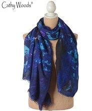 Desigual Brand Women's tartan Scarf Summer Style Long Shawl Pashmina Printed Blue Summer Scarves Women Hijab Bandanas Pashmina