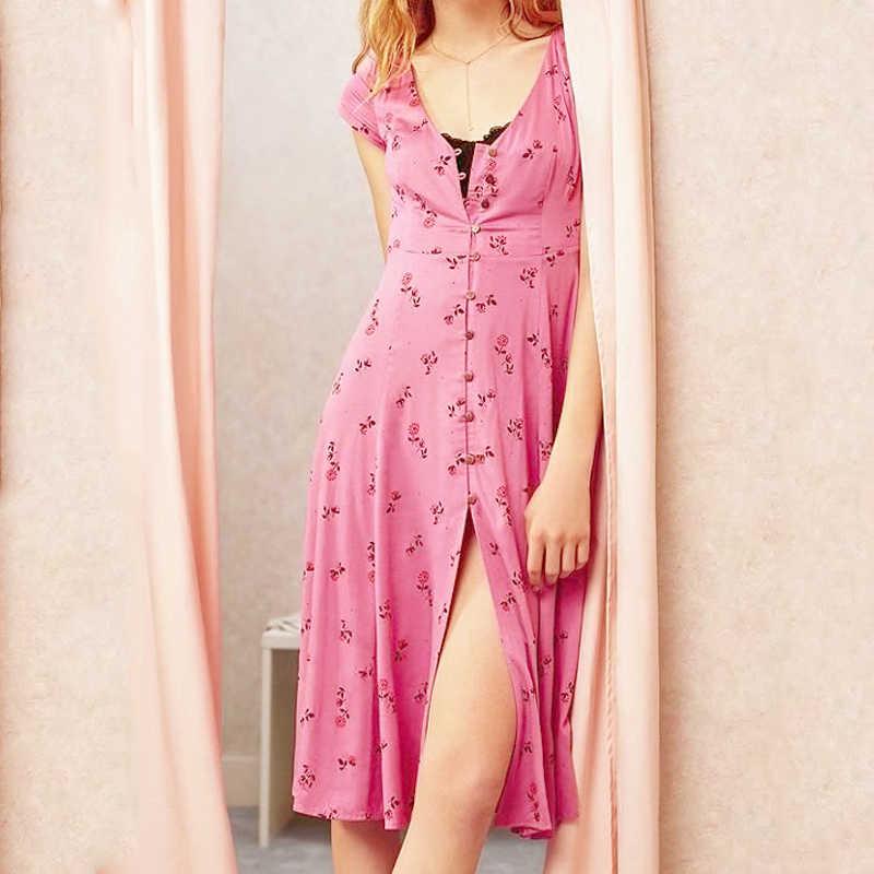 f775c3a60 Summer style robe party boho dress Women 2019 V-neck vestido beach Sexy  Floral print