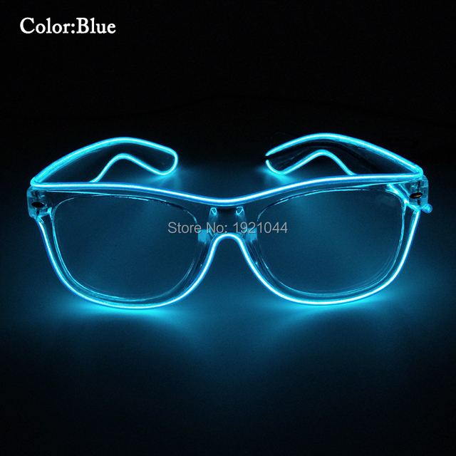 Blue EL Wire Glowing Glasses with DC 3V Sound activated Driver LED ...