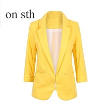 Candy Color Seven Point Sleeve Three Quarter Self-cultivation Type Suit Commuter OL Slim Little Suit 2018 New  Spring Original