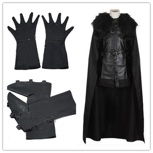 2017 High Quality GoT Game of Thrones Jon Snow Nights Watch Outfit Full Set Halloween Party Cosplay Costume for Adult Men Women
