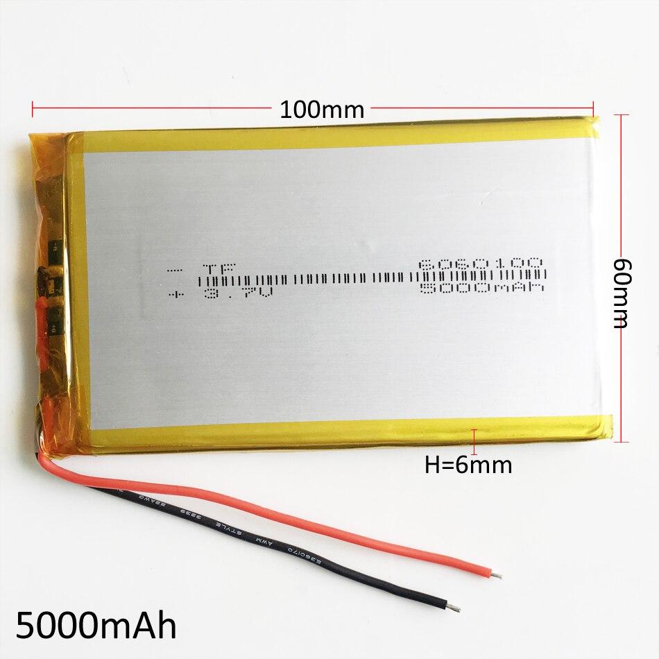 3.7 V 5000 mAh 6060100 de Polímero de Lítio LiPo Bateria Recarregável Para GPS PSP DVD PAD e-book tablet pc banco de potência Laptop móvel
