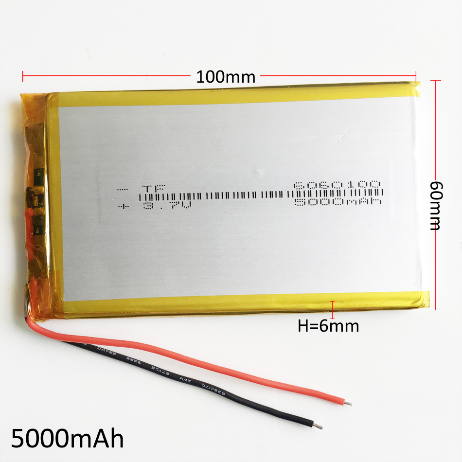 3.7V 5000mAh 6060100 Polymer Lithium LiPo Rechargeable Battery For GPS PSP DVD PAD e-book tablet pc power bank Laptop mobile 5 x 3 7v 5000mah polymer lithium lipo rechargeable battery 706090 for gps psp dvd e book tablet pc laptop power bank video game