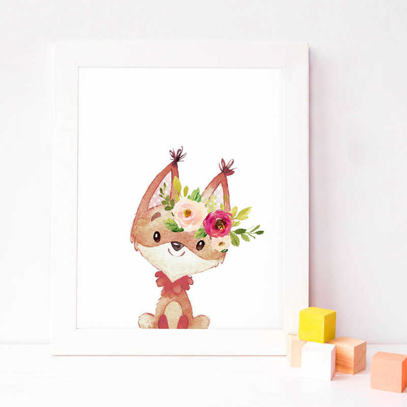 Watercolor baby animals Moose Canvas Poster Boho Nursery Wall Art Print Painting Floral Animals Pictures Baby Girl Room Decor
