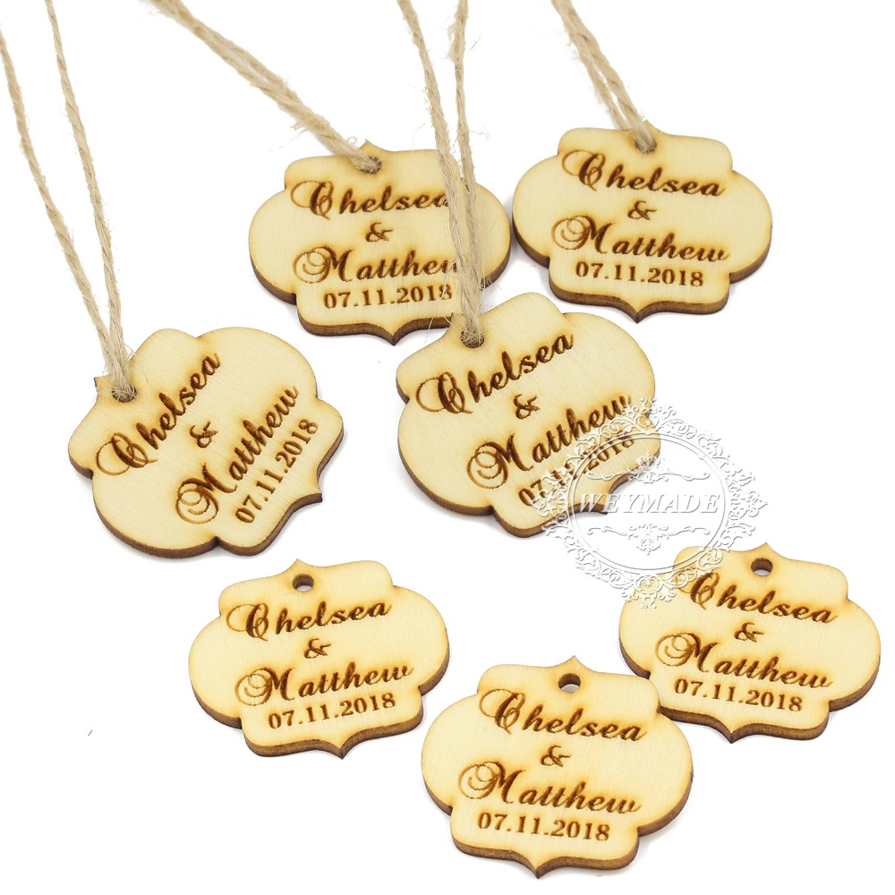 100personalized engraved wooden wine charm custom wood label tags wedding birthday gifts tags rustic bridal shower favor tags
