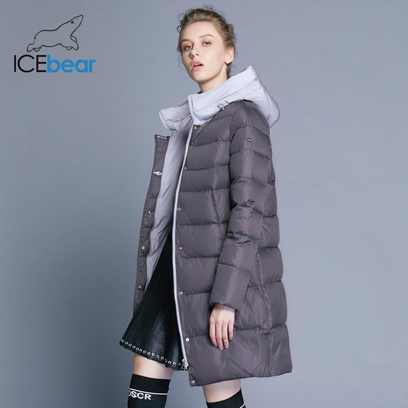 ICEbear 2019 new hooded woman coat winter slim jacket high quality brand clothing design windproof warm