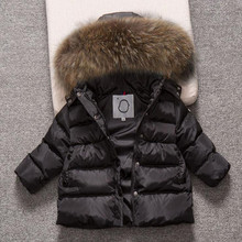 2018 Fashion Winter Baby Boys Girls Thick Jacket Children Down Cotton Coat Real Racoon Fur Kids Hooded Infant Toddler Outerwear