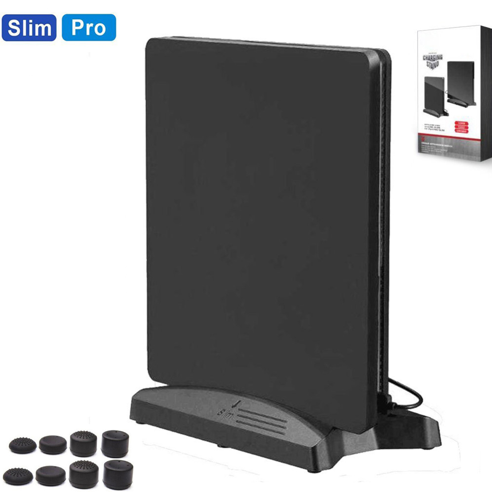 PS4 Pro PS4 Slim Vertical Stand Holder w/Cooling Fans Cooler 3 USB HUB Ports For Sony PS4 Pro PS4 Slim Console Spaceship 2 in 1 vertical stand mount holder cradle for ps4 grey
