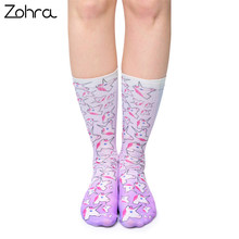 Zohra Hot Sale High Quality Casual Women Scok Cute Unicorn Ombre Printed Female Elasticity White Socks Hosiery