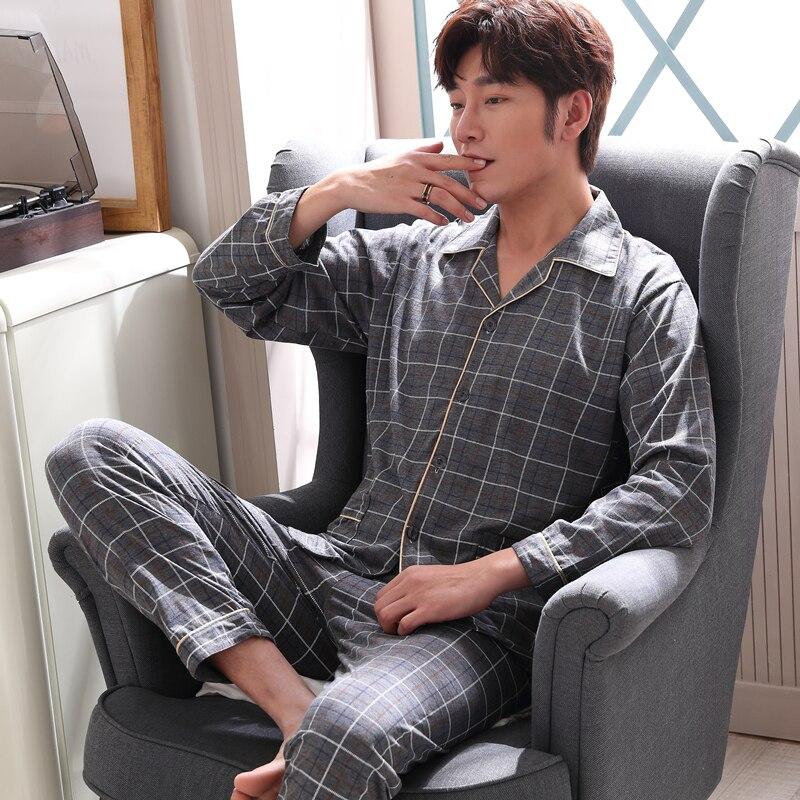 Man's Pajamas Plus Size Turn Down Collar Prited Pajamas Sets 2019 Spring Autumn Male Fashion Sleepwear Men Casual Homewear Suit