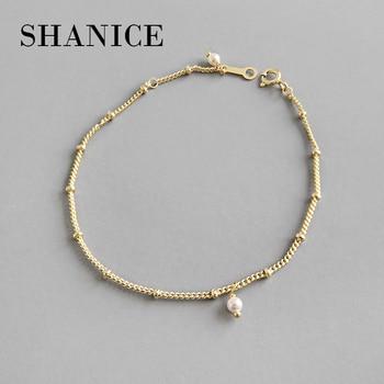 1a4de19c8b7f SHANICE Color oro-Cadena de cuentas de 100% de Plata de Ley 925 de enlace  de cadena de plata Pulsera de las mujeres de Japón de chica es