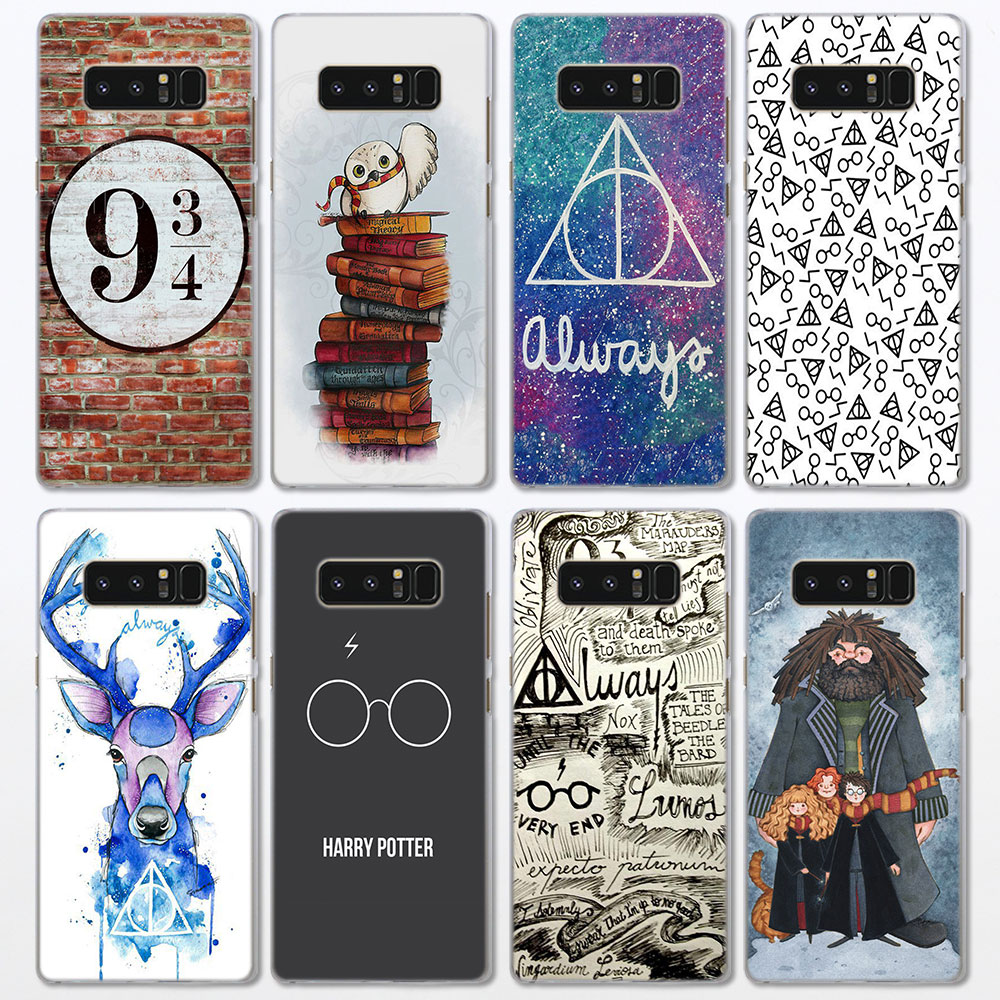Harry Potter Deathly Hallows Always Pattern clear frame hard Back Case Cover for Samsung Galaxy Note 8 Note 5 4 S6 S7 S8 S9 Plus
