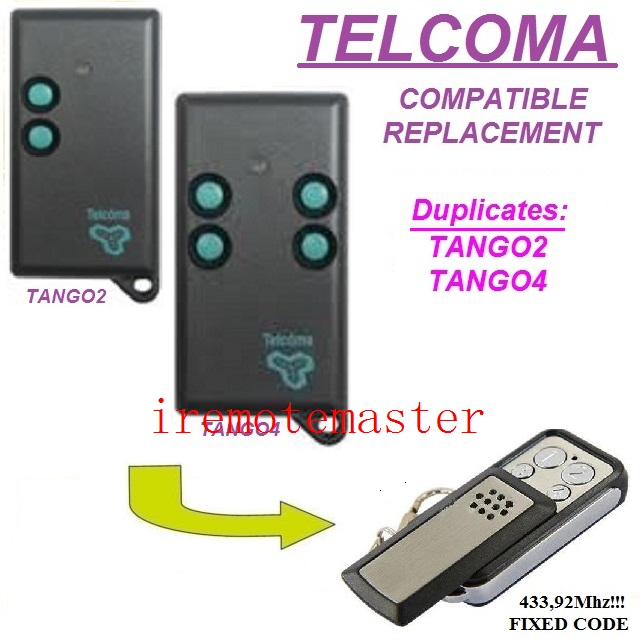 Replacment remote for TELCOMA TANGO2,TANGO4 433,92MHZ free shippingReplacment remote for TELCOMA TANGO2,TANGO4 433,92MHZ free shipping