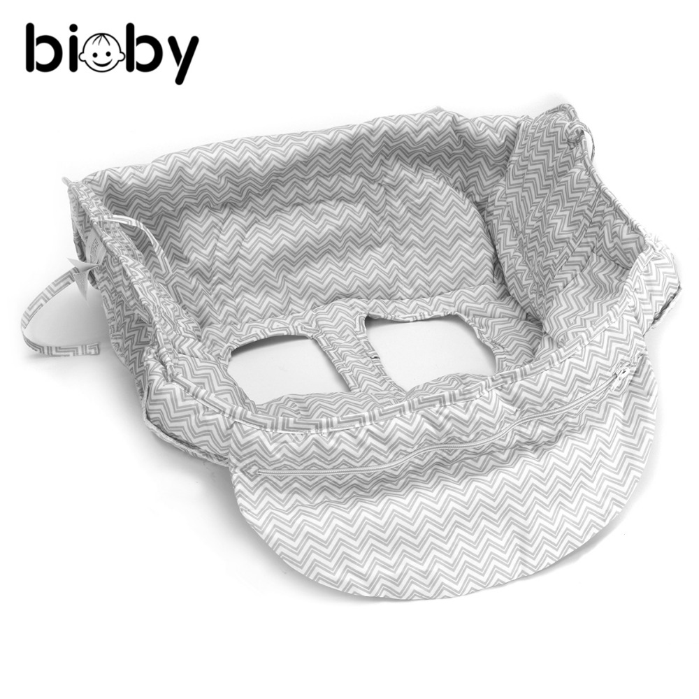 Gray Baby Portable Shopping Cart Cover Pad Strap Trolley Safety High Chair Seat Pad Polyester Nappy Cover Baby Care Supplies