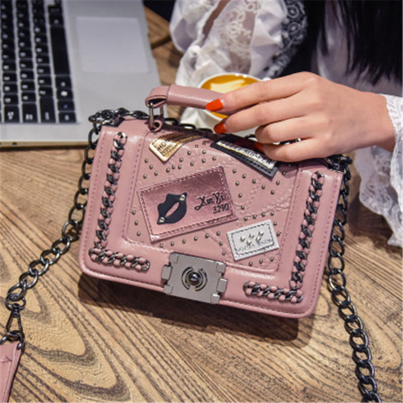 NIBESSER Women Chains Messenger Bags Vintage Ladies Famous Brand Designer Crossbody Bag For Women Rivet Small Bags for Women
