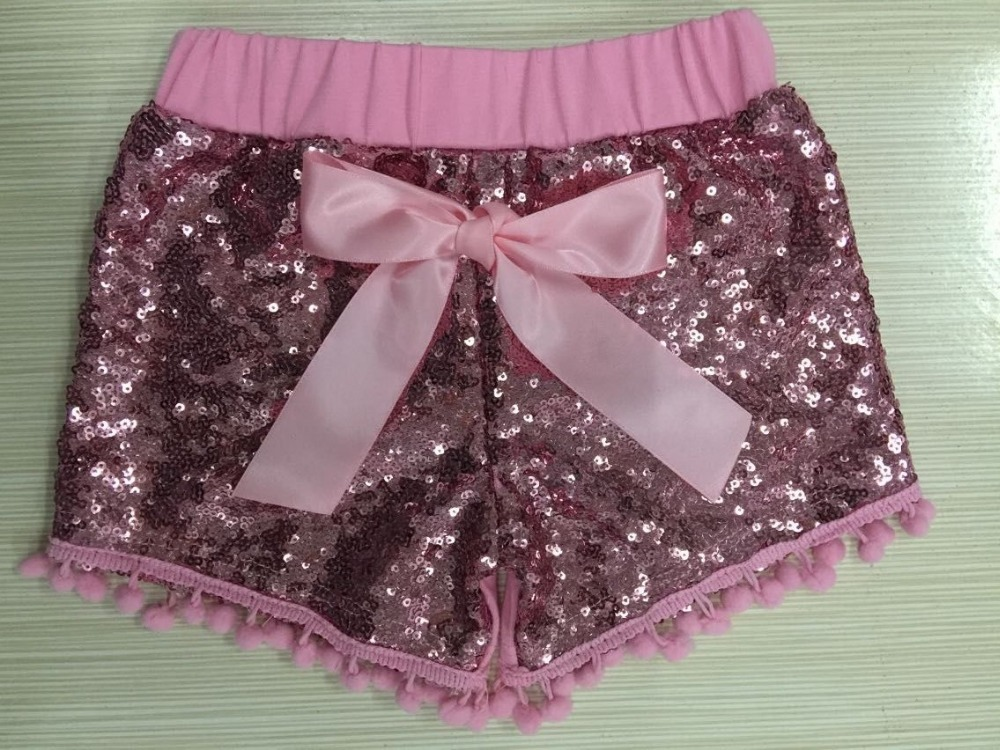 Gold Sequin shorts,pink baby sequin shorts,first birthday,glitter gold shorts,Baby Girls Pom Pom Shorts