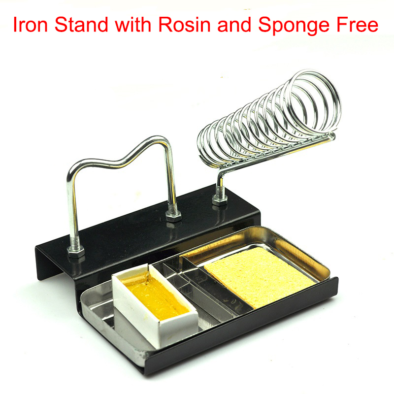 Double Metal Base Soldering Iron Gun Holder Stand Mount Support Station With Rosin Sponge For Free