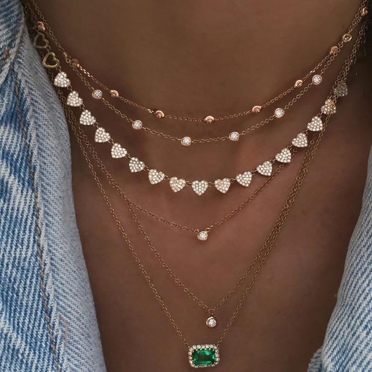 Богемное многослойное ожерелье с кулоном из кристаллов для женщин, золотые модные многослойные ожерелья и кулоны, ювелирные изделия - Окраска металла: NE-0205-13