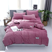 Super Soft Embossed Winter Bedding Sets Coral Fleece Sheet Pillowcase Duvet Cover Single Queen King Size