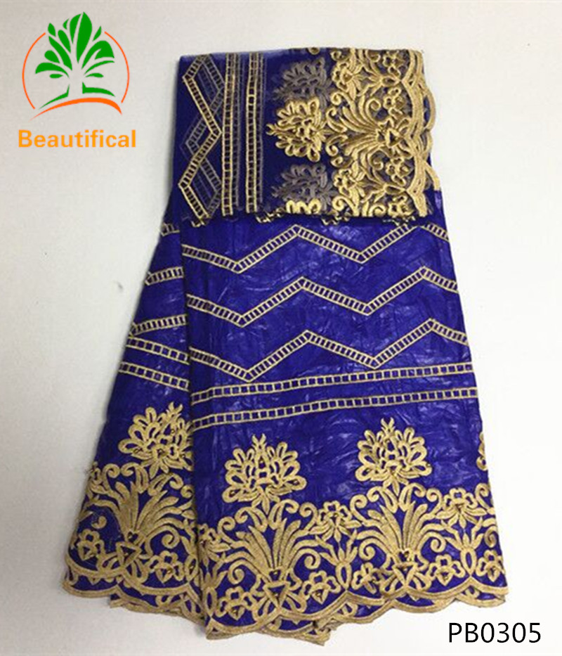 BEAUTIFICAL Royal blue Bazin riche fabric embroidered with beads 2017 latest Bazin riche getzner high quality net lace set PB03 in Fabric from Home Garden
