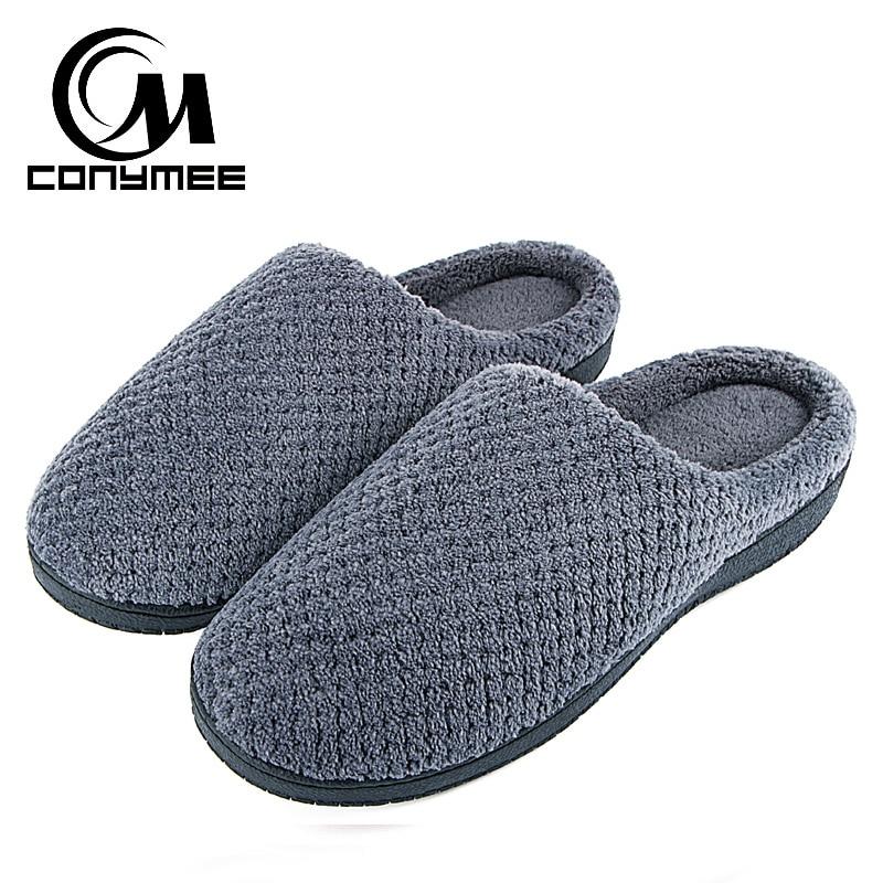 Men Home Slippers Winter Shoes Indoor Floor Warm Plush Slippers For Men Fluffy Slipper