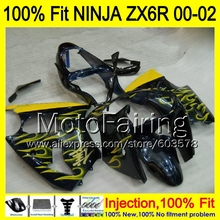 8Gifts Injection mold Body For KAWASAKI NINJA ZX-6R 00-02 1HM3 ZX 6R ZX6R 00 01 02 ZX636 2000 2001 2002 Fairing yellow flames