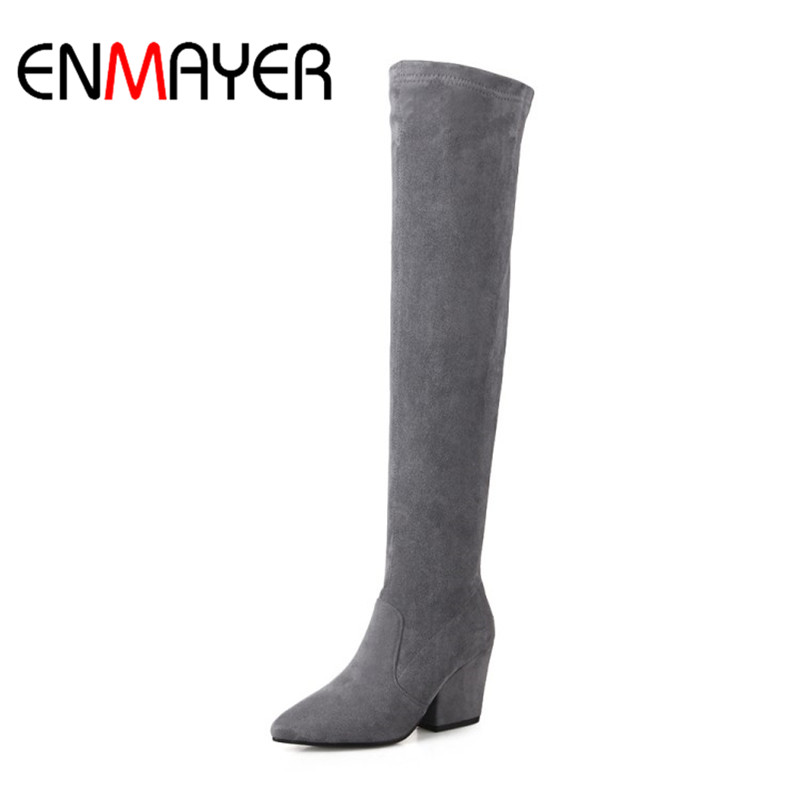 ENMAYER Womens Winter Shoes Over-the Knee Slip-On Pointed Toe High Heel Square Heel Zipper Women Boots Dating Ladies ShoesENMAYER Womens Winter Shoes Over-the Knee Slip-On Pointed Toe High Heel Square Heel Zipper Women Boots Dating Ladies Shoes