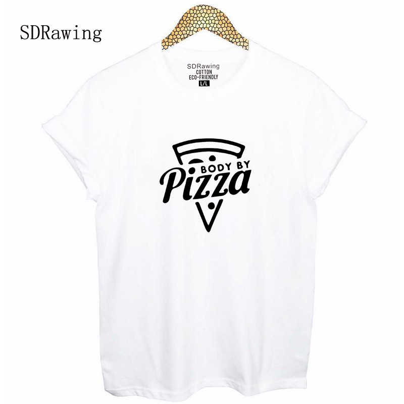 2d2a937b40bf Body by pizza print funny T-Shirt women graphic tee for teen instagram fall  gift