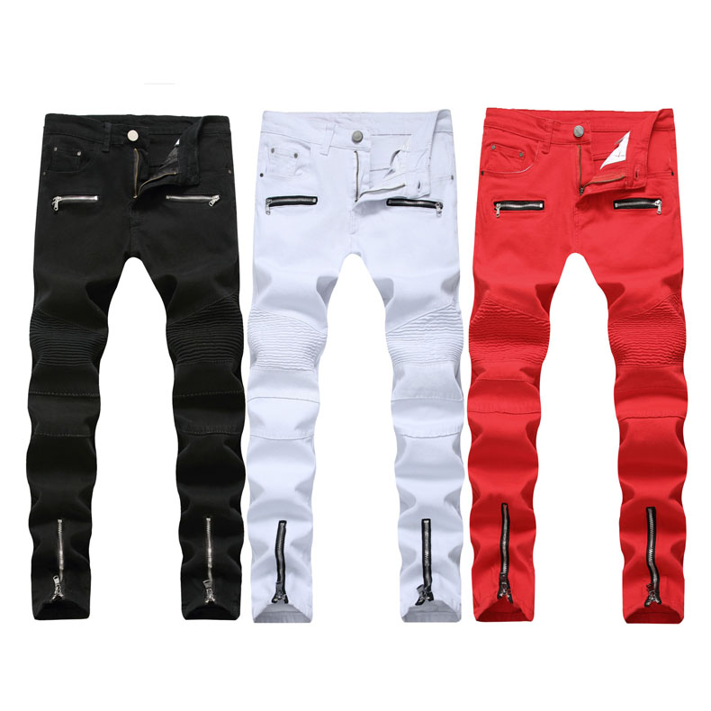 New Black Red White Ripped   Jeans   Men Denim Skinny Famous Designer Brand Slim Fit   Jean   Pants Scratched Biker Holes   Jeans