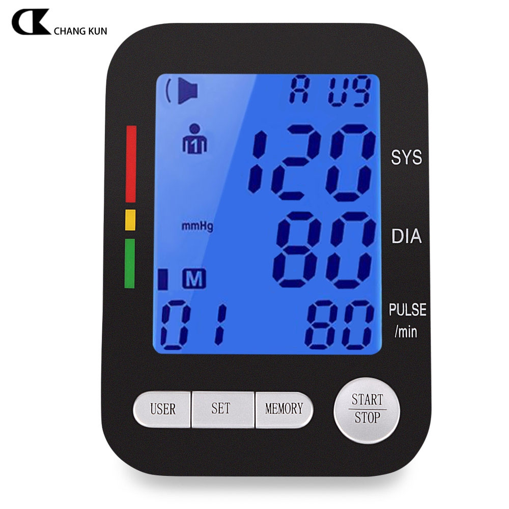 CHANGKUN Professional Upper Arm Blood Pressure Monitor Health Care Automatic Digital LCD Heart Beat Meter Machine Live Voice home care laser light therapy instrument wrist watch type reduce high blood pressure