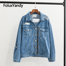 Hole Denim Jackets Embroidered Flares Women Coats Plus Size XXXL High Street Ripped Jeans Jacket Blue Outerwear KKFY3160