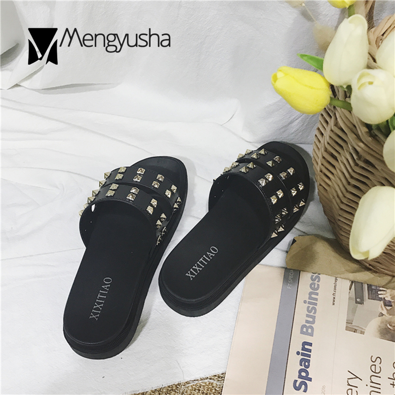 359b0e72b791b0 Fashionable Slides Platform Shoes Women Rivets Hollow Out Slippers Outside  Summer Punk Style Flip Flops Ladies Beach Shoes 2018-in Slippers from Shoes  on ...