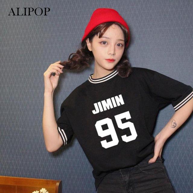 ALIPOP KPOP BTS Bangtan Meninos Camisas do Álbum K-POP 2016 Tshirt T Shirt Tops de Manga Curta T-shirt Ocasional Preto Branco DX334