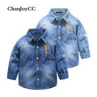 Chanjoycc تصميم جديد الفتيان قميص الأزياء عالية الجودة عارضة طويلة الأكمام رفض طوق مع تزلف القطن الناعمة الجينز قميص